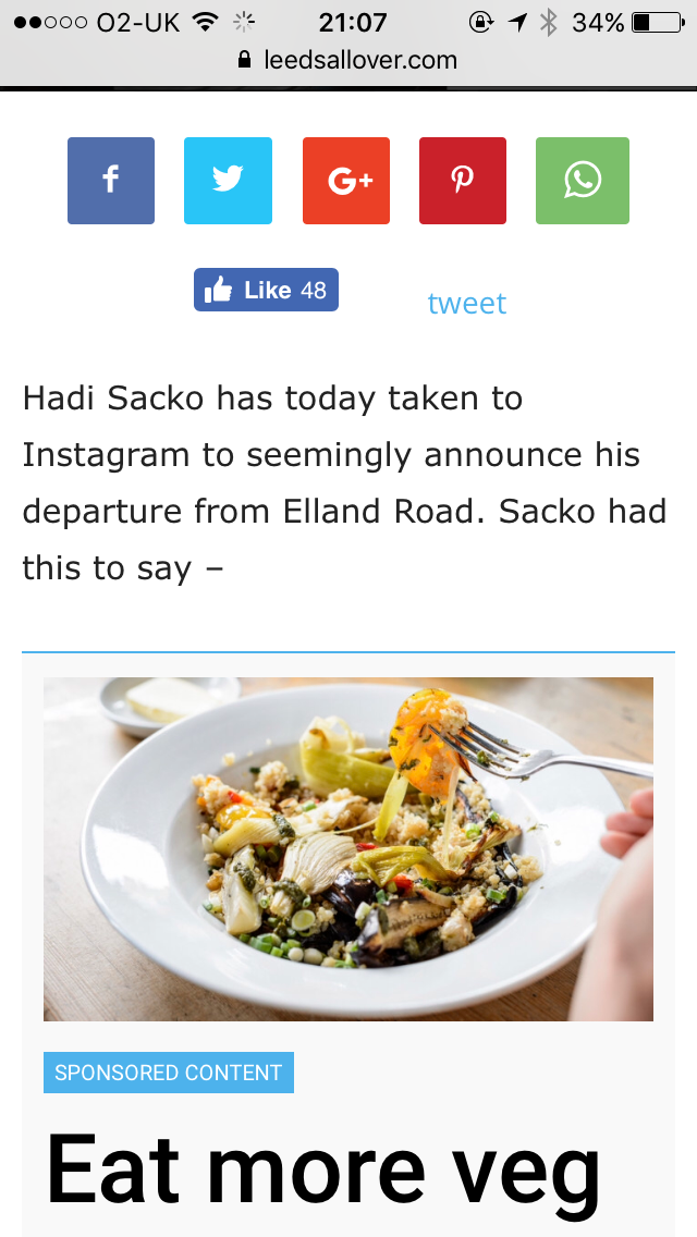 Weird leaving statement from Sacko. Obviously big on his 5 a day.
